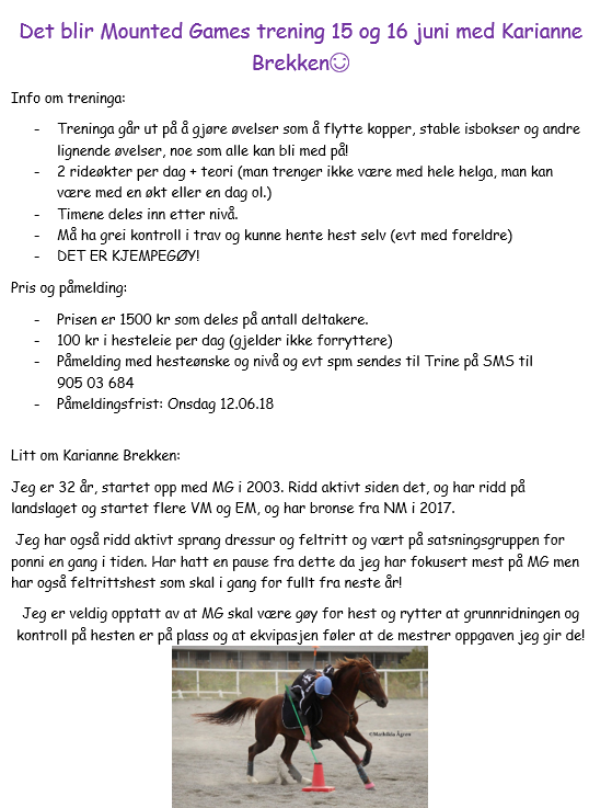 MOUNTED GAMES TRENING 15-16 JUNI